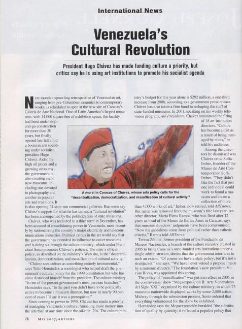 Venezuela's Cultural Revolution, ARTnews, May 2007 p1