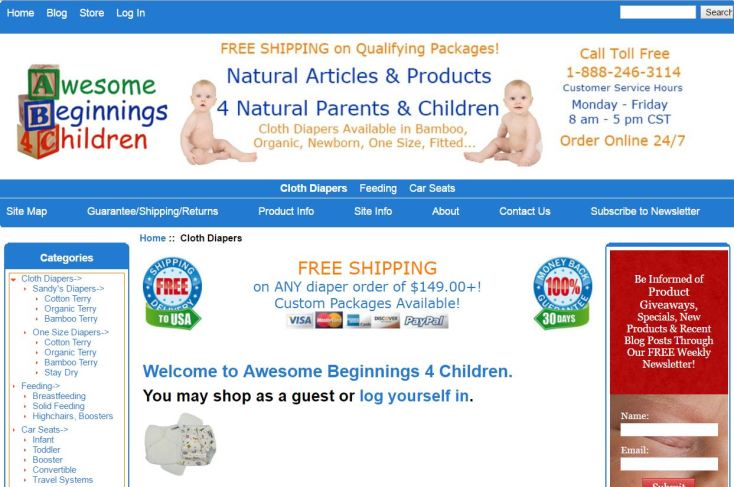 Awesome Beginnings 4 Children Website Front Page