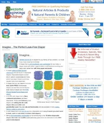 snapshot of Awesome Beginnings 4 Children website