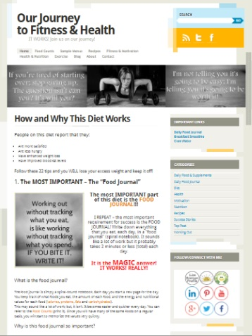 snapshot of Our Journey to Fitness and Health website