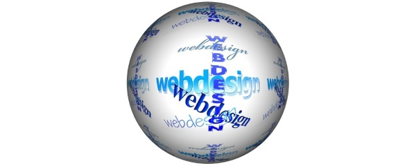 whte globe with text all over it that reads web design
