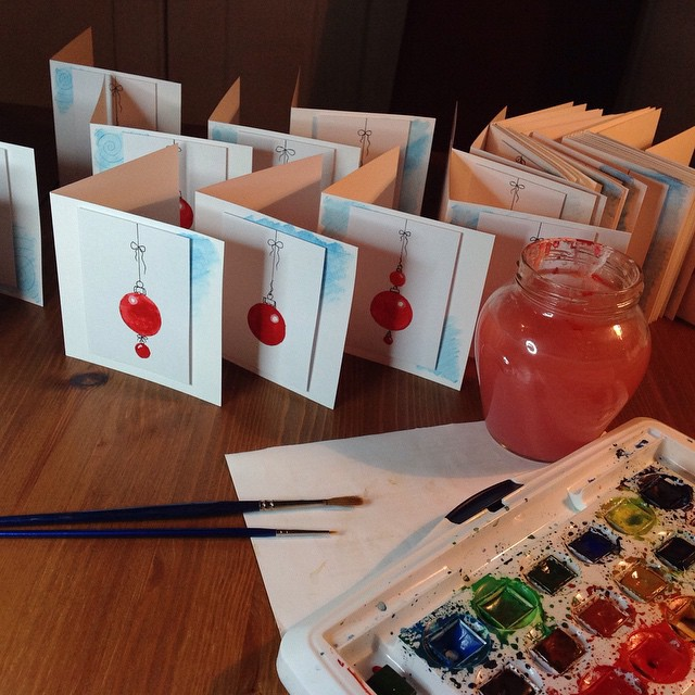This years Christmas Cards finished and ready to write – #notcuttingitfine #handmade #paper #painted