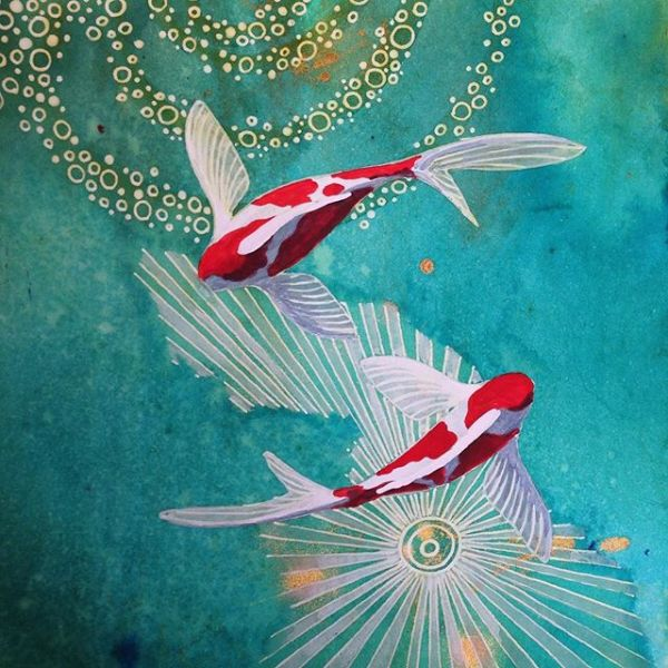 Painting beautiful dream fish.