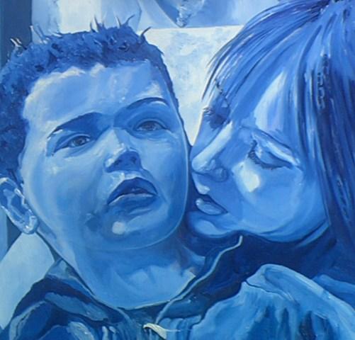 'Heather an her boy' oils in blue on canvas 50x50cm