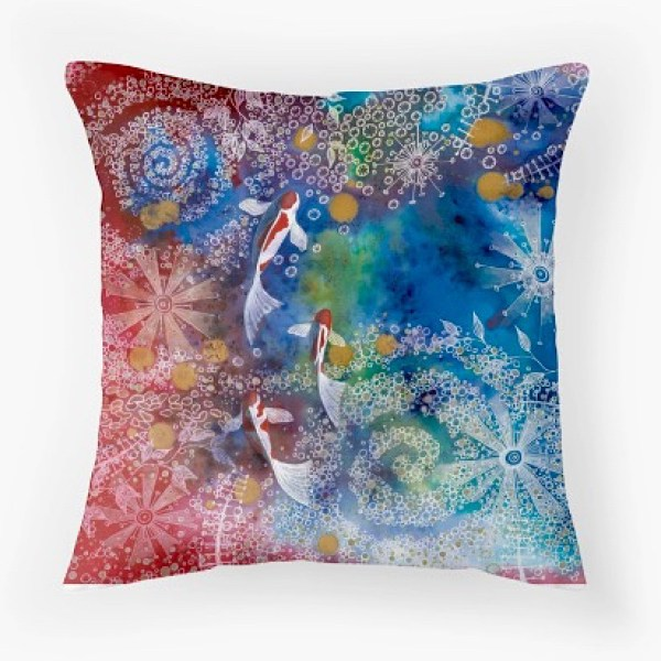 A comfort of cushions with original designs by @lisa_cat
