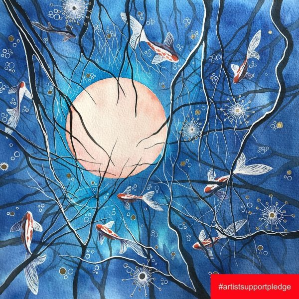 This painting is called 'Blue pull' from a dream of a forest with beautiful fish swimming through the trees as I walked and a summer moon soaring overhead it's 30x30cm and is now available to buy as part of the  If you are interested in owning this signed  original piece please dm me.  I have added a couple of images made in the @artroomapp to give you an idea of what it will look like framed.  The Artist Support Pledge States Due to the COVID-19 pandemic, many artists have found themselves without work, teaching, technical support and gallery work. Exhibitions and sales have disappeared. In an attempt to help alleviate some of this stress @matthewburrowsstudio have instigated the ARTIST SUPPORT PLEDGE The concept is a simple one. . Artists post images of their work, on Instagram which they are willing to sell for no more than £200 each (not including shipping). Anyone can buy the work. Every time an artist reaches £1000 of sales, they pledge to spend £200 on another artist/s work. . If you are interested in owning any of my pieces please dm me.   @artistsupportpledge