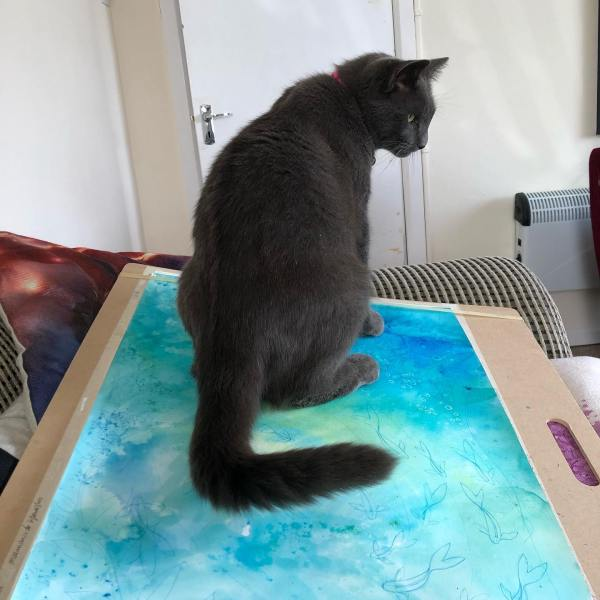 I left the new painting alone for 2 minutes... new work sometimes has unexpected occurrences...