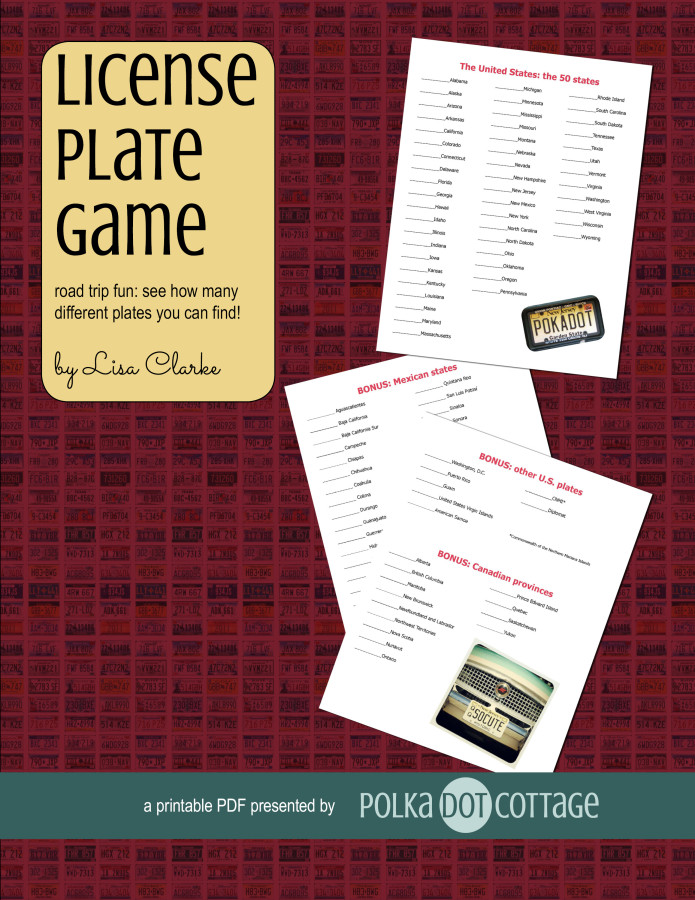 The License Plate Game, a printable from Polka Dot Cottage