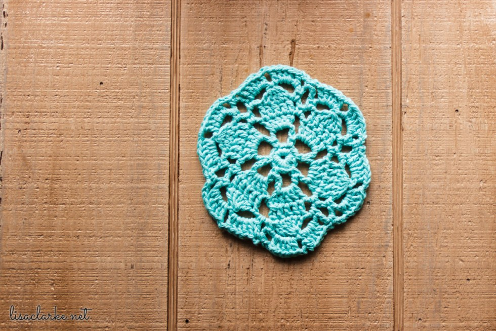 Crocheted table mat at Polka Dot Cottage