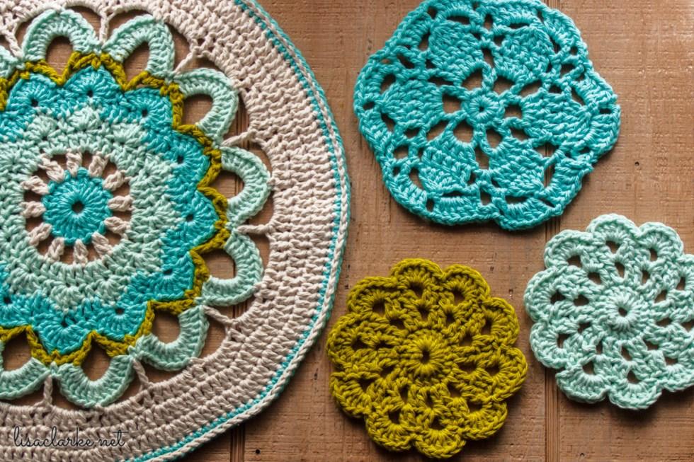 Crocheted mandala and coasters at Polka Dot Cottage