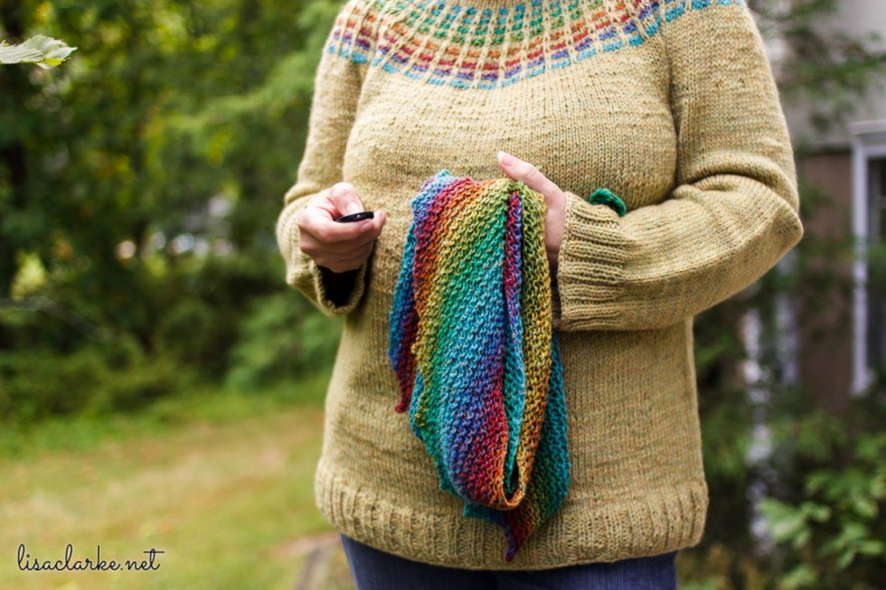Rainbow Hitchhiker Shawl