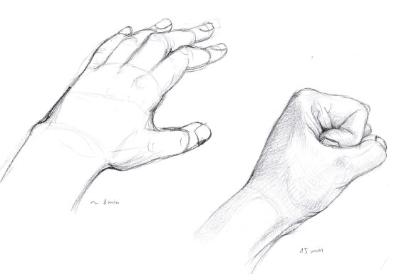 Pencil drawing of hands by Lisa Cuthbertson