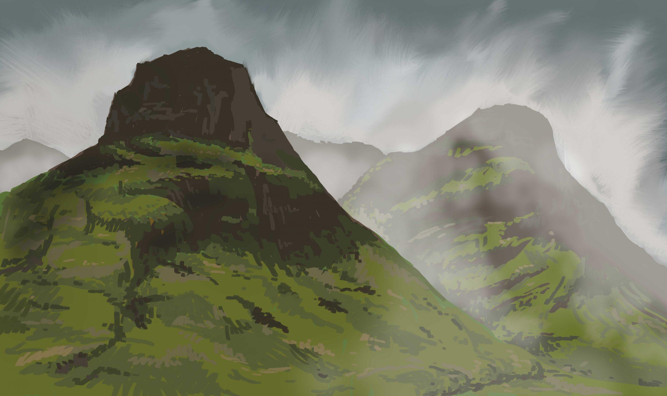 Schottische Highlands, digitale Malerei von Lisa Cuthbertson