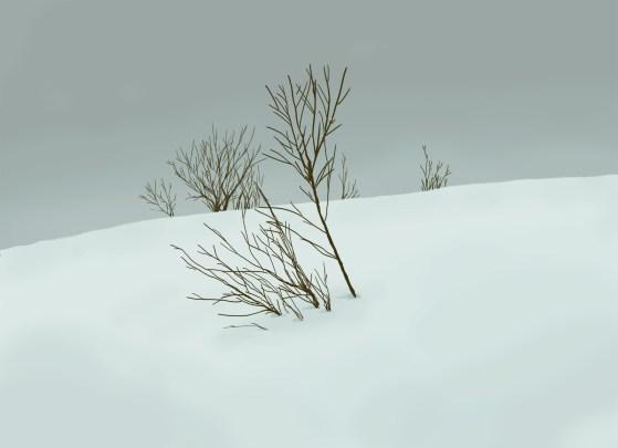 Schneelandschaft, digitale Malerei von Lisa Cuthbertson