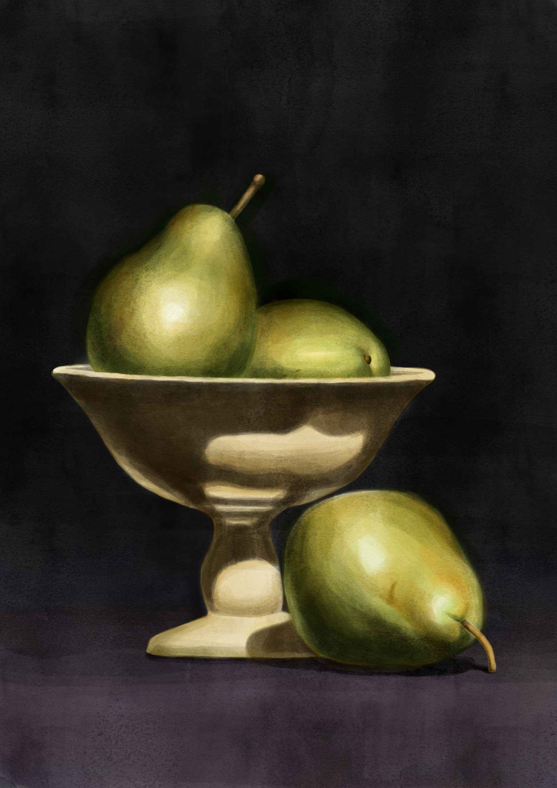 An illustration by Lisa Cuthbertson showing a stilllife with pears