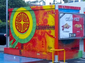 McDonalds Advertisement Embedded In The Back Side of 'Tahiti Cyclope' - by Hell Ton John - Ono'U 2014 - Tahiti