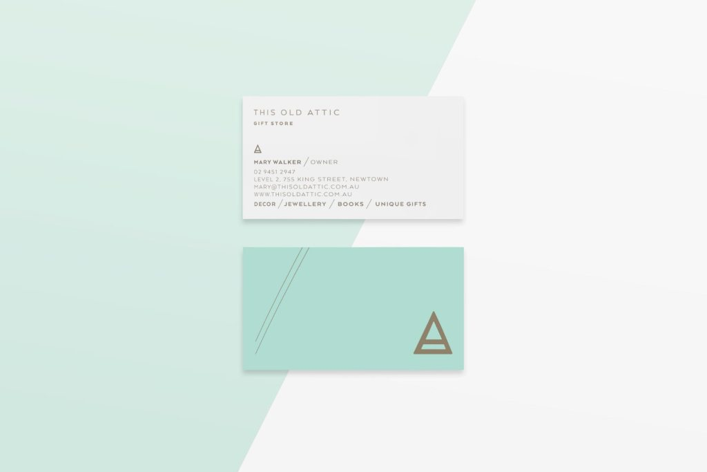 This Old Attic business card design by Lisa Furze