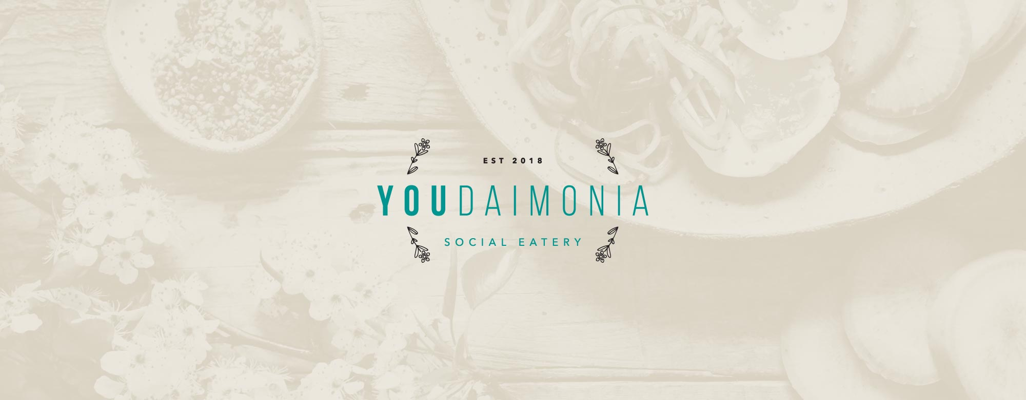 Youdaimonia restaurant logo and brand identity design by Lisa Furze