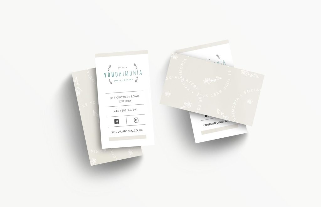 Youdaimonia restaurant business card design, created by Lisa Furze