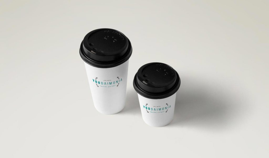 Youdaimonia restaurant paper cup designs, by Lisa Furze