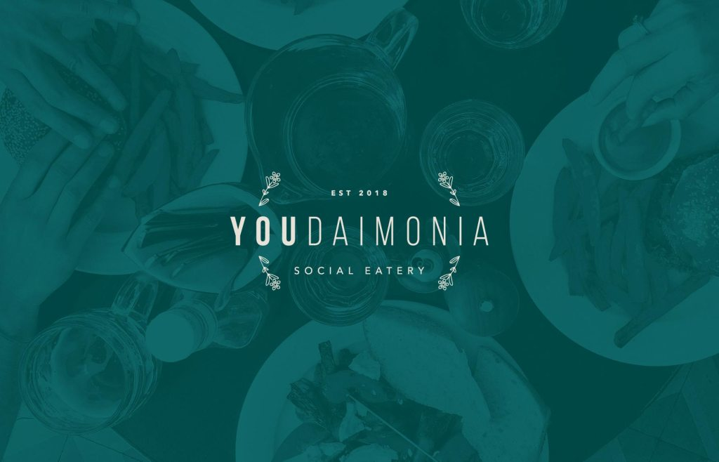 Youdaimonia restaurant primary logo design, by Lisa Furze