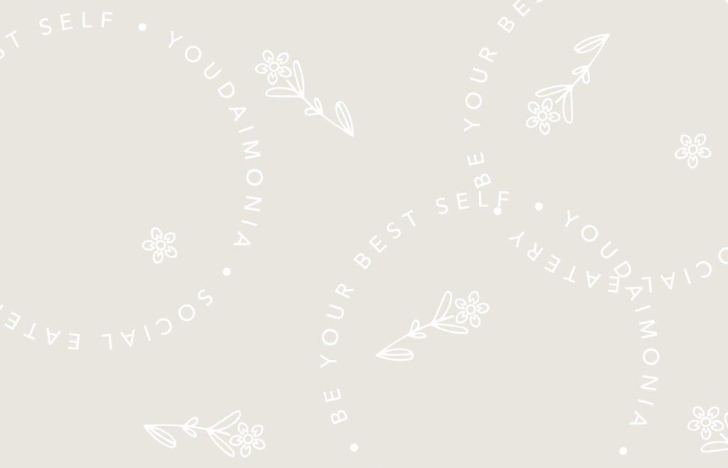 Youdaimonia restaurant brand pattern, designed by Lisa Furze