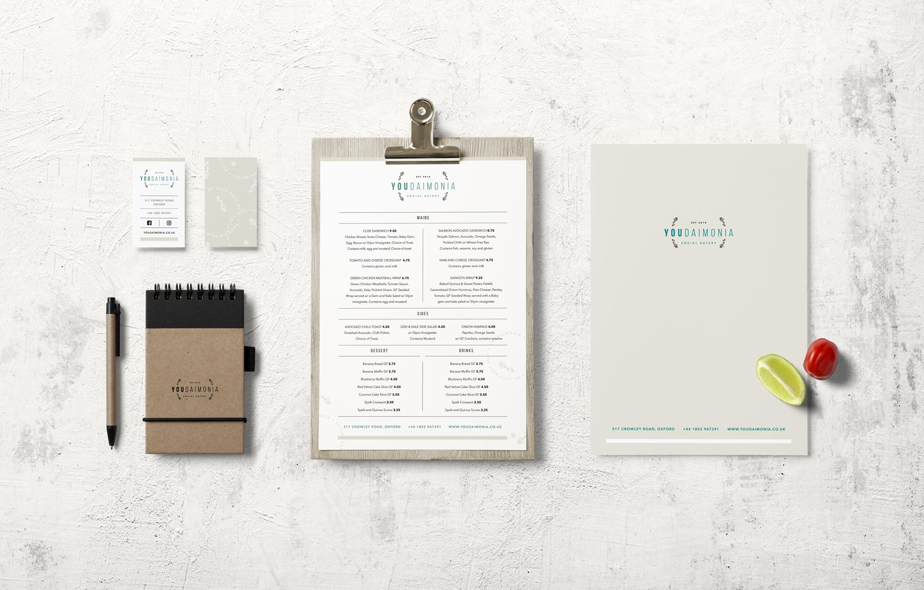 Youdaimonia restaurant stationery design, by Lisa Furze