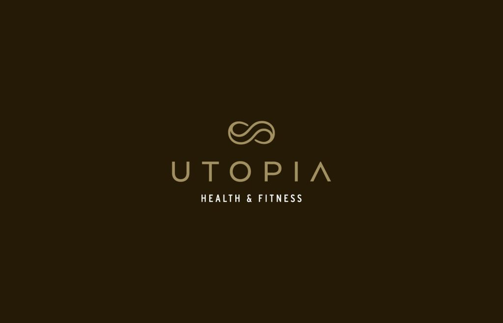 Utopia logo design (reversed colours), branding by Lisa Furze