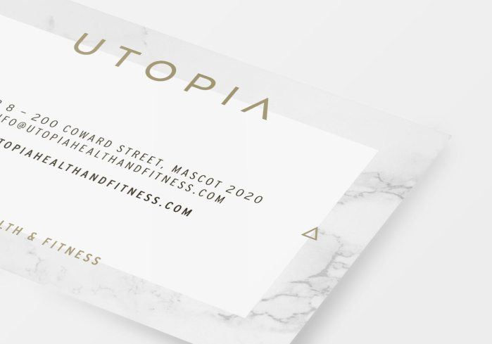 Utopia business card design detail, by Lisa Furze