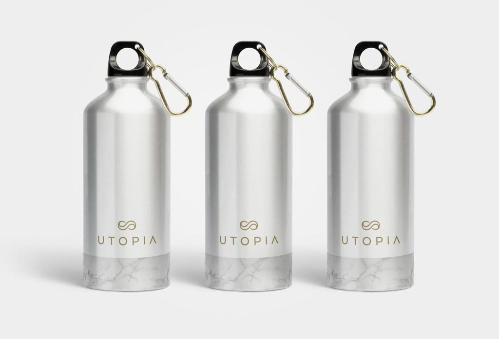 Utopia reusable alunimium drink bottles, designed by Lisa Furze