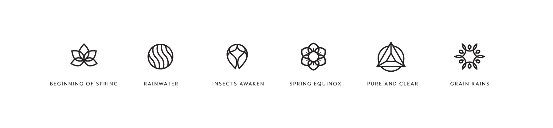 Icon designs for the spring seasons, created by Lisa Furze