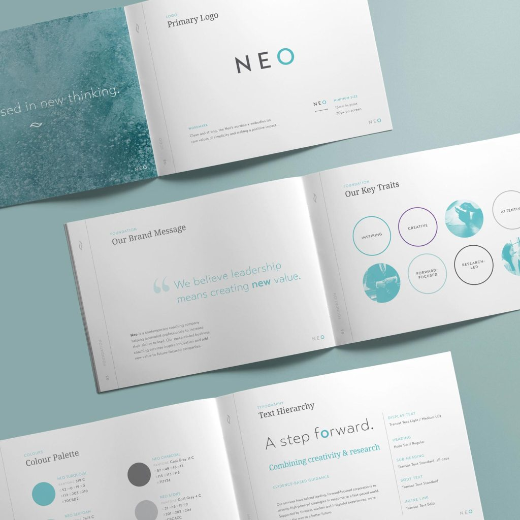 NEO style guide layouts, designed by Lisa Furze