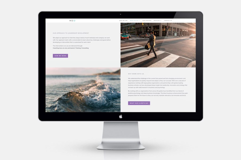 NEO website design by Lisa Furze