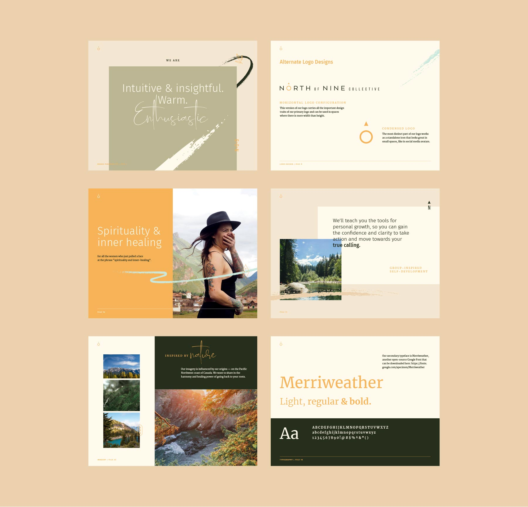 North of Nine Collective style guide layout designs, by Lisa Furze