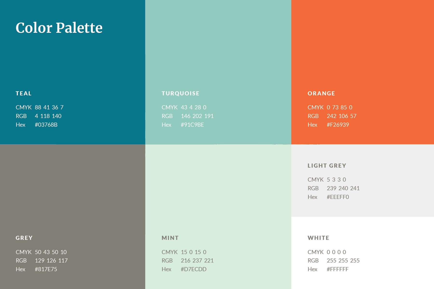 Brand colour palette of blue-greens and orange