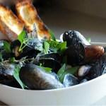 Mussels Steamed in a Dijon Mustard Cream Sauce (Mussels Dijonnaise)