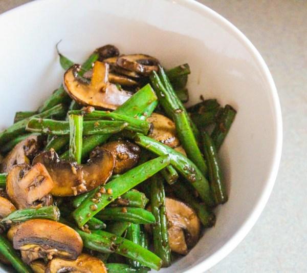 Asian Stye Mushrooms and Green Beans I LisaGCooks.com