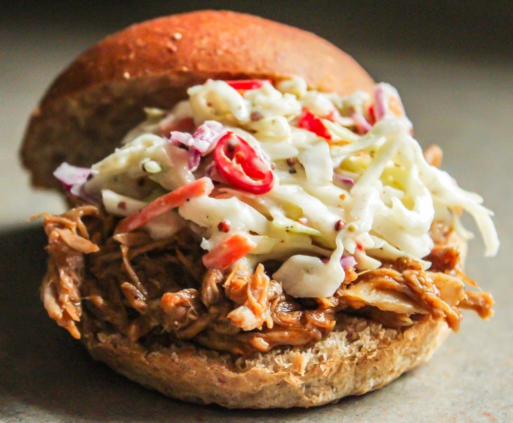 spicy pulled pork sandwich
