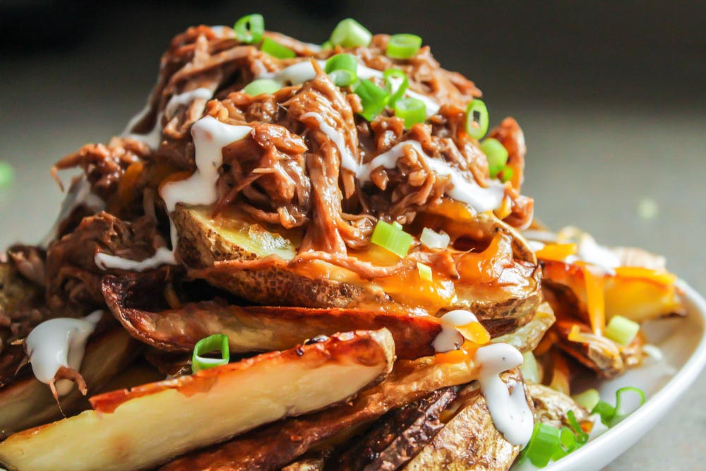 Pulled Pork Cheesy Potato Wedges