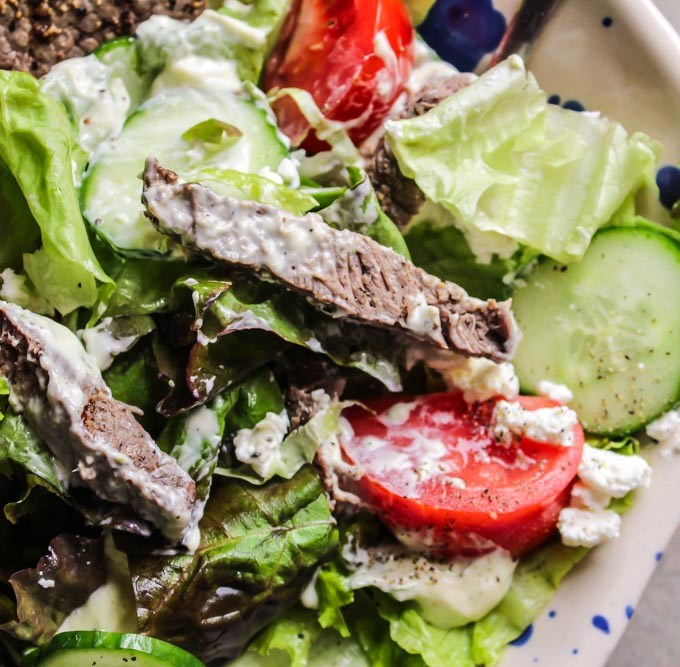 Steak and Goat Cheese Salad with a Creamy Scallion and Lime Dressing
