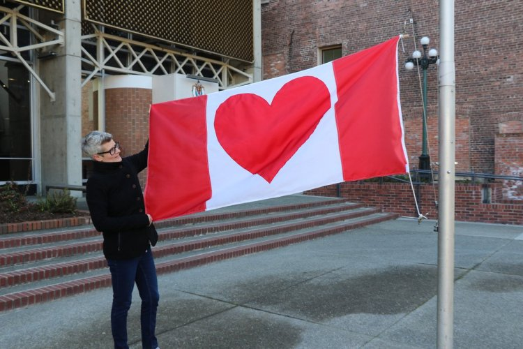 flag at city hall heart