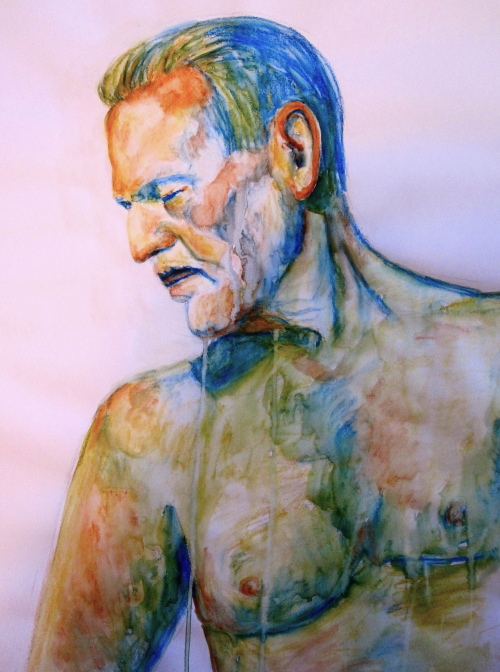 """Pensive 18"""" x 24"""" water soluable crayons on paper"""