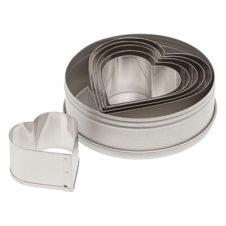 Ateco Plain Heart Stainless Steel Cookie Cutter Set-6pcs