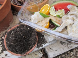 This is an example of the goodies that go into compost and the soil you end up with...before and after ;)
