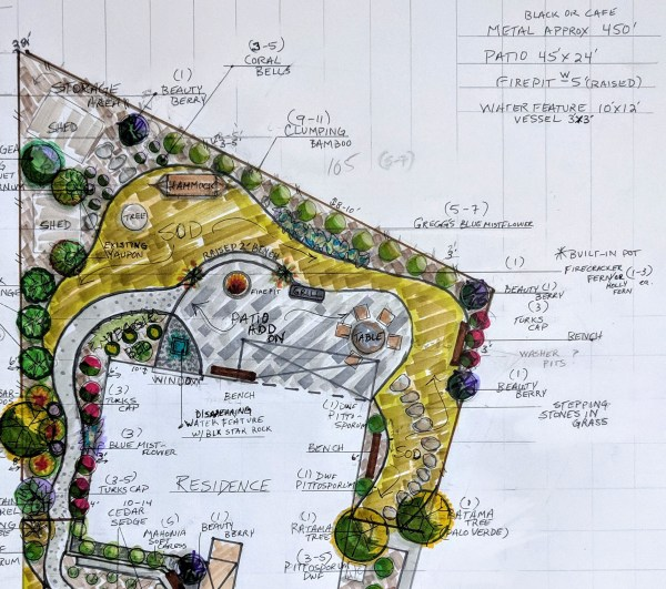 Lisa's Landscape and Design, custom hand drawn design by Lisa LaPaso
