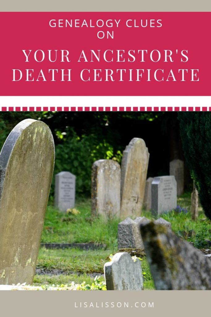 Are you missing vital clues to your ancestors? Learn how to all the genealogical clues in your ancestor's death certificate . #genealogy #ancestors #familyhistory