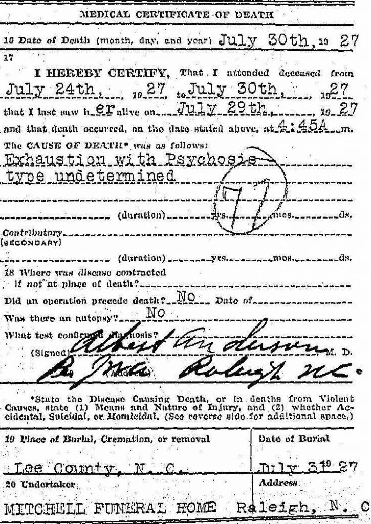 Genealogy death certificate Mattie Maddox - medical