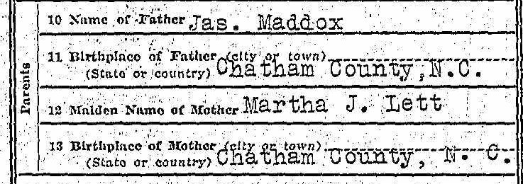 Genealogy death certificate Mattie Maddox - parents