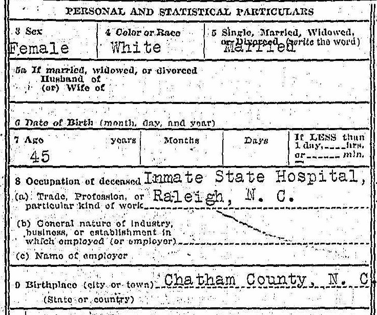 Genealogy death certificate Mattie Maddox - personal
