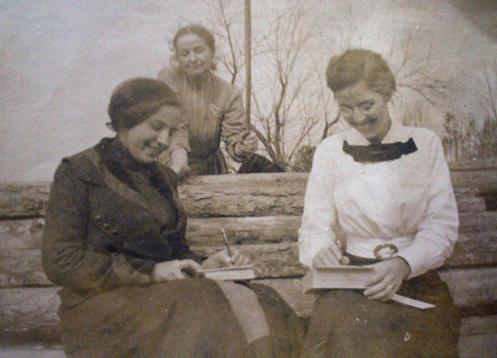 Best friends Esther Richardson and Nannie Farson writing letters
